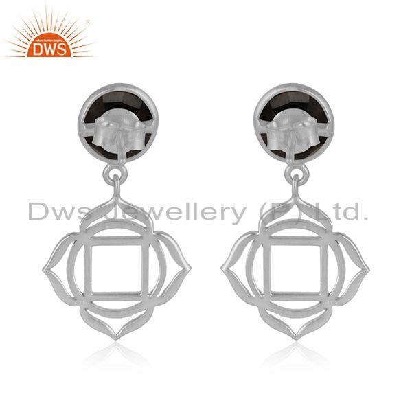 Designer of Holy root chakra earring in solid silver with natural black onyx