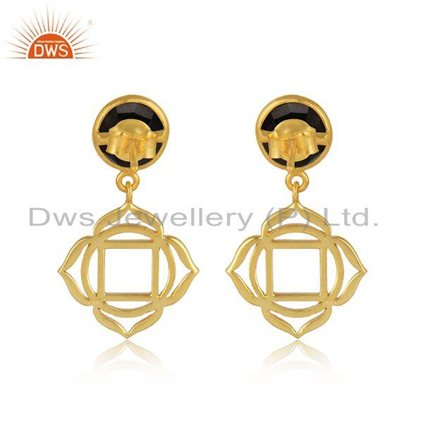 Designer of Root chakra earring in yellow gold on silver with black onyx
