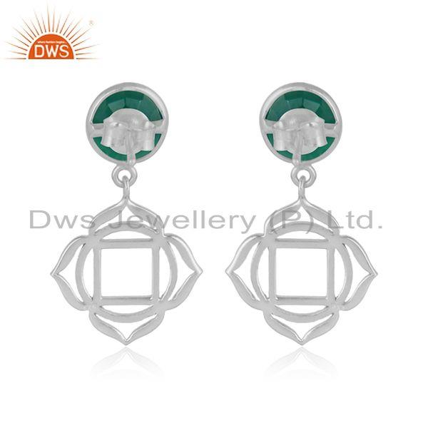 Designer of Holy root chakra earring in solid silver with natural green onyx
