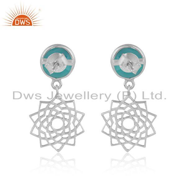 Designer of Designer crown chakra earring in solid silver with aqua chalcedony