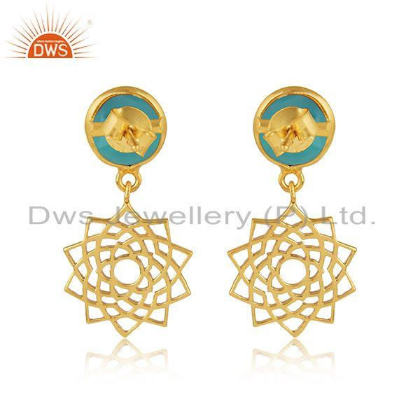 Designer of Crown chakra earring in yellow gold on silver with aqua chalcedony