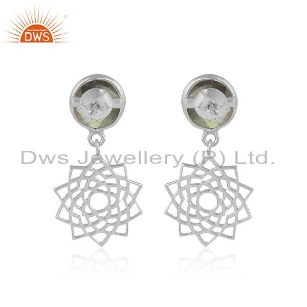 Designer of Designer crown chakra earring in solid silver with labradorite