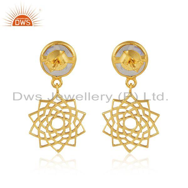 Designer of Chakra earring in yellow gold on silver 925 with rainbow moonstone