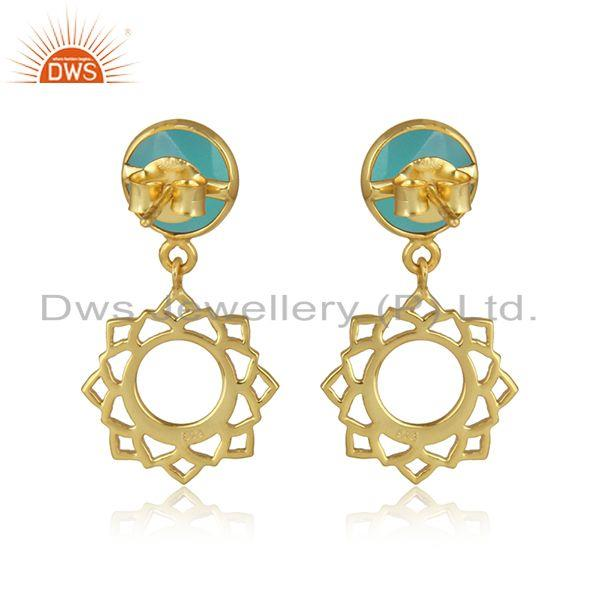 Designer of Heart chakra earring in yellow gold on silver with aqua chalcedony