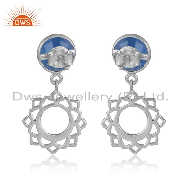 Designer of Designer heart chakra earring in silver 925 with blue chalcedony