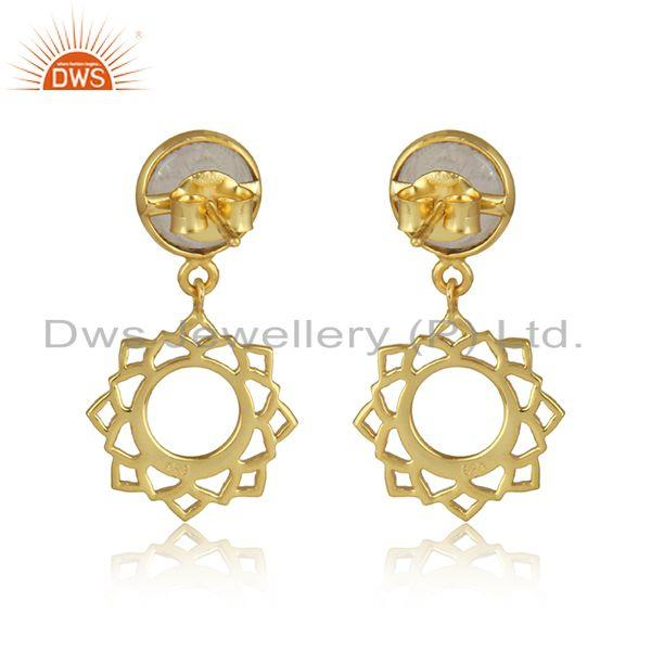 Designer of Chakra earring in yellow gold on silver with rainbow moonstone