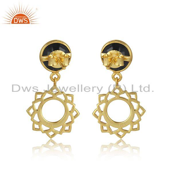 Designer of Heart chakra earring in yellow gold on silver 925 with black onyx