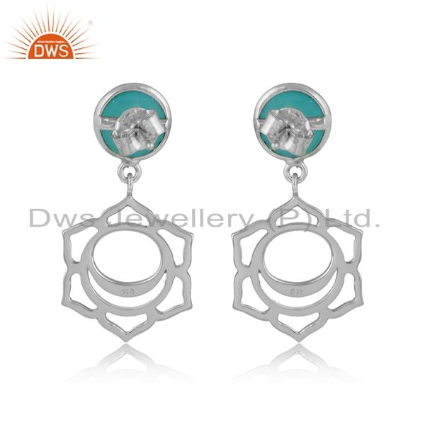 Designer of Designer sacral chakra dangle in silver 925 with aqua chalcedony