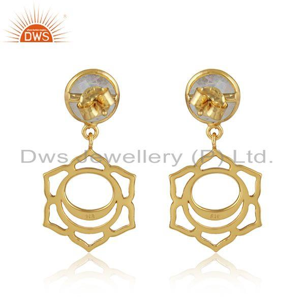Designer of Sacred earring in yellow gold on silver with rainbow moonstone