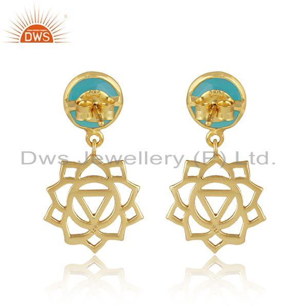Designer of Manipura earring in yellow gold on silver with aqua chalcedony