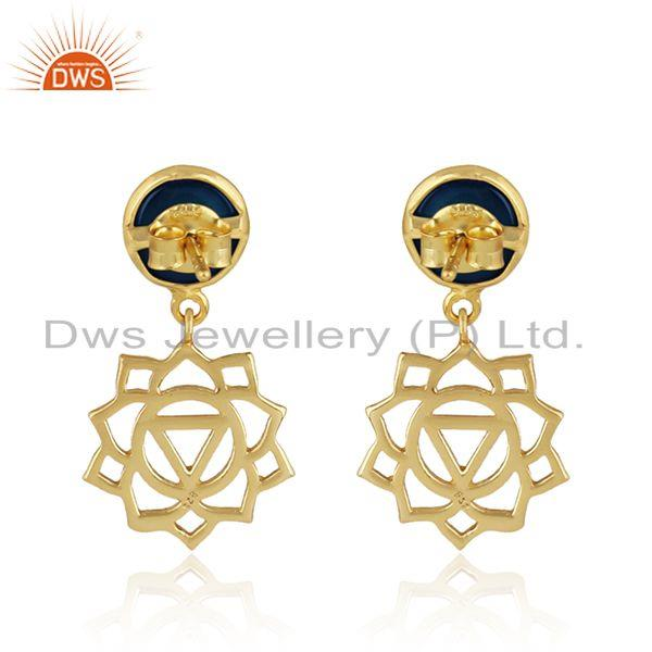 Designer of Solar plexus chakra earring in yellow gold on silver with lapis