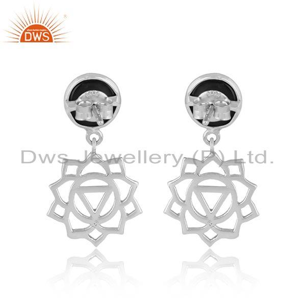 Designer of Solar plexus chakra earring in silver 925 with natural black onyx