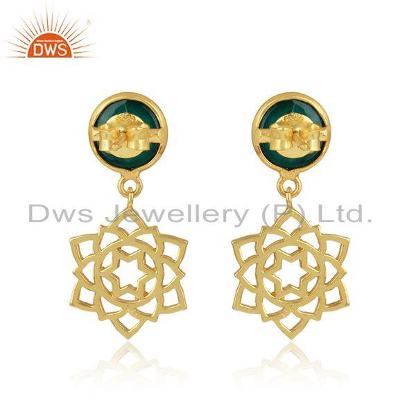 Designer of Solar plexus chakra earring in gold plated silver with green onyx