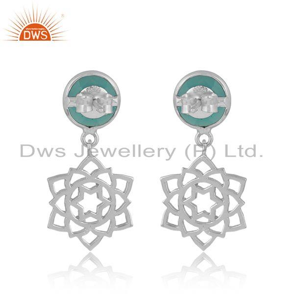 Designer of Designer anahata earring in solid silver 925 with aqua chalcedony