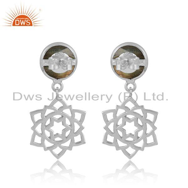Designer of Designer anahata earring in solid silver 925 with labradorite