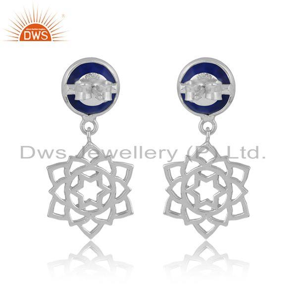 Designer of Designer anahata earring in solid silver 925 with lapis