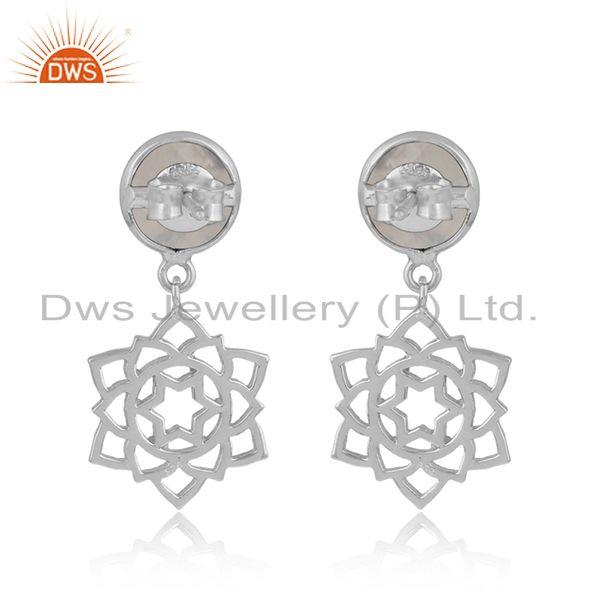 Designer of Designer anahata earring in solid silver 925 with rainbow moonstone