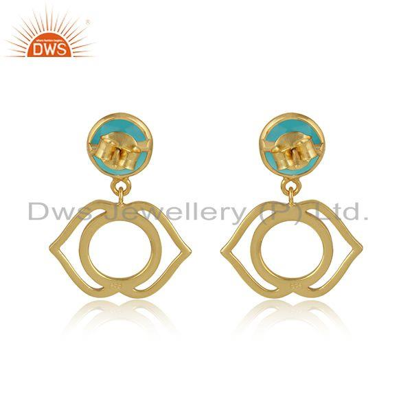 Designer of Ajna earring in yellow gold on silver 925 with aqua chalcedony