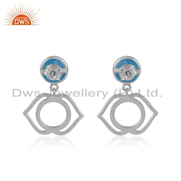 Designer of Designer ajna chakra earring in silver 925 with blue chalcedony