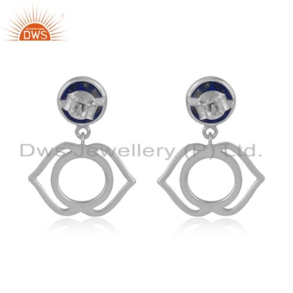 Designer of Designer ajna chakra earring in silver 925 with lapis lazuli