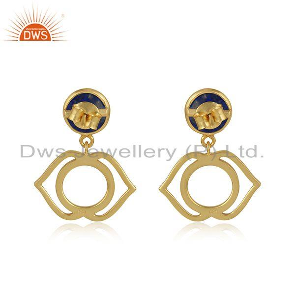 Designer of Ajna cahkra earring in yellow gold on silver 925 with lapis