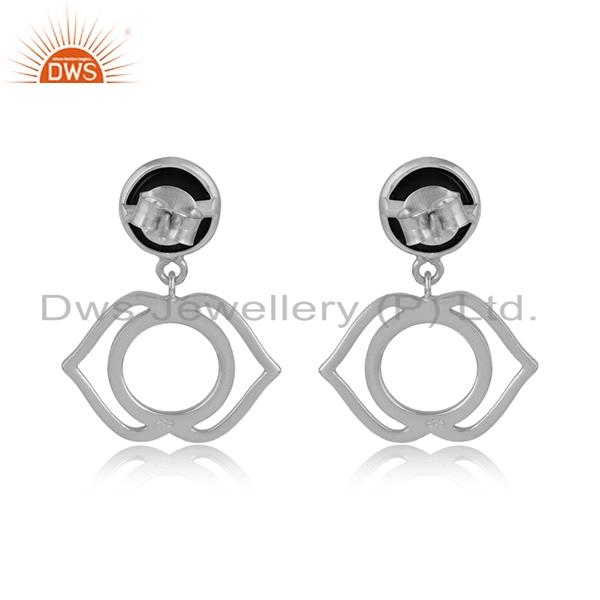 Designer of Designer ajna chakra earring in silver 925 with black onyx