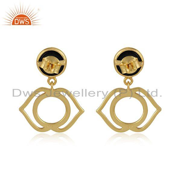 Designer of Ajna chakra earring in yellow gold on silver 925 with black onyx