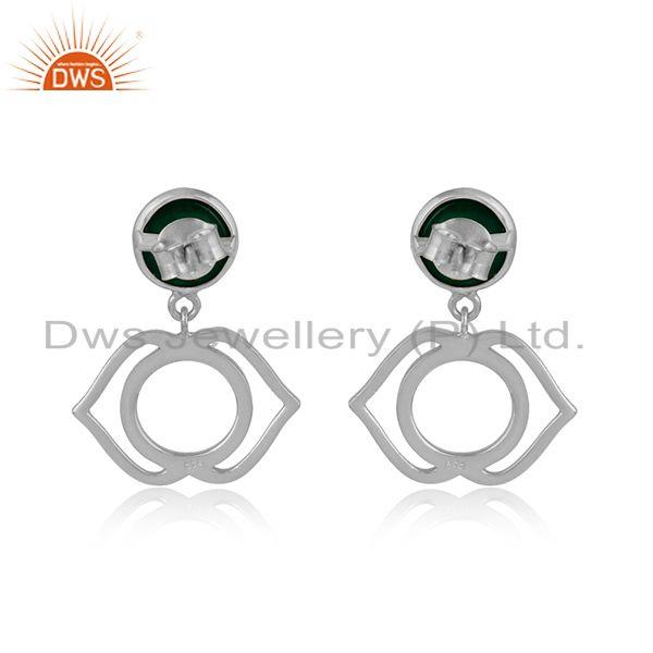 Designer of Designer ajna chakra earring in silver 925 with green onyx