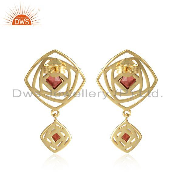 Designer of Dangle design 18k gold plated silver garnet gemstone earrings