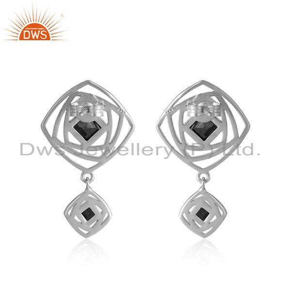 Designer of Black onyx gemstone sterling fine silver designer girls earrings