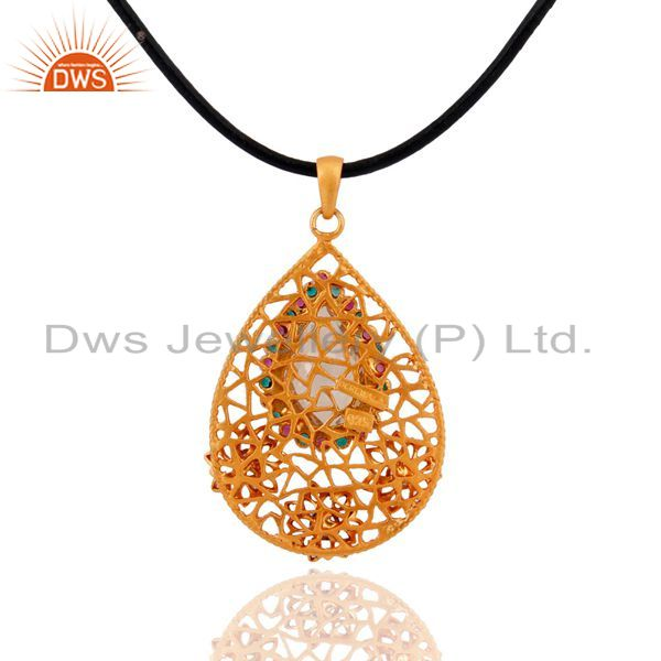 Suppliers 18k Gold Plated 925 Sterling Silver Crystal Quartz Multi Zircon Pendant Jewelry