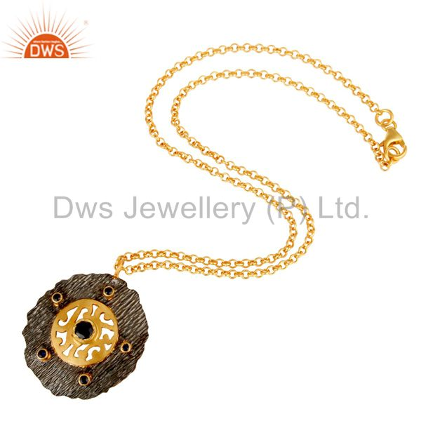 Suppliers 18K Yellow Gold Plated Sterling Silver Blue Sapphire Designer Pendant With Chain