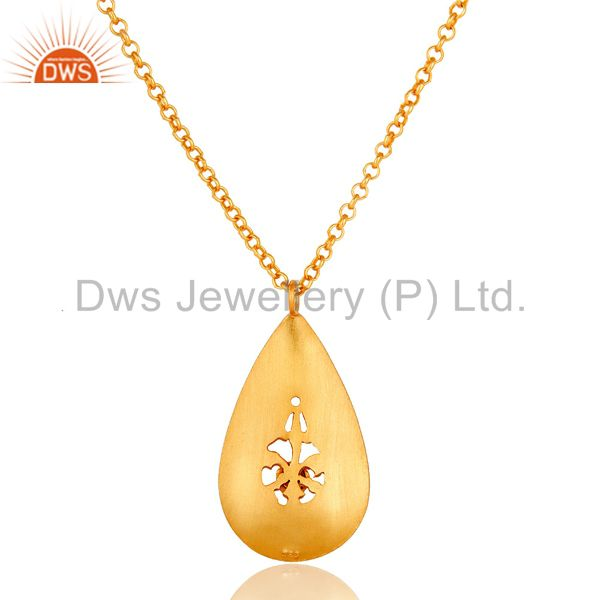 Suppliers 18k Yellow Gold Plated Topaz Designer Pendant Sterling Silver Handmade Jewelry