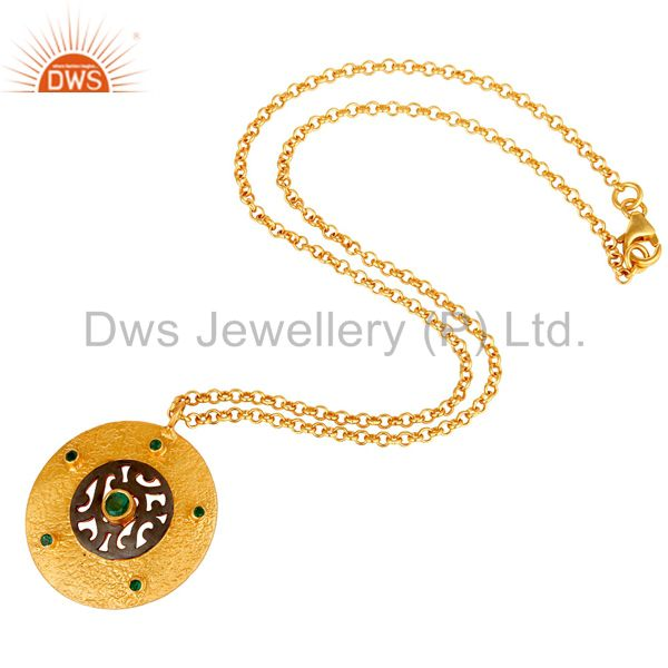 Suppliers Natural Ruby Gemstone 18k Yellow Gold 925 Sterling Silver Designer Chain Pendant