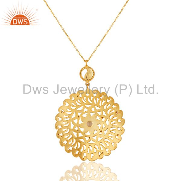 Suppliers Hammered 22K Yellow Gold Plated Over Brass Crystal Quartz Pendant With Chain