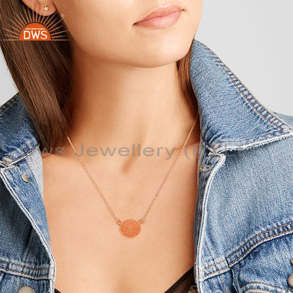 Suppliers 14k Rose Gold Plated Handmade 925 Sterling Silver Charm Pendant