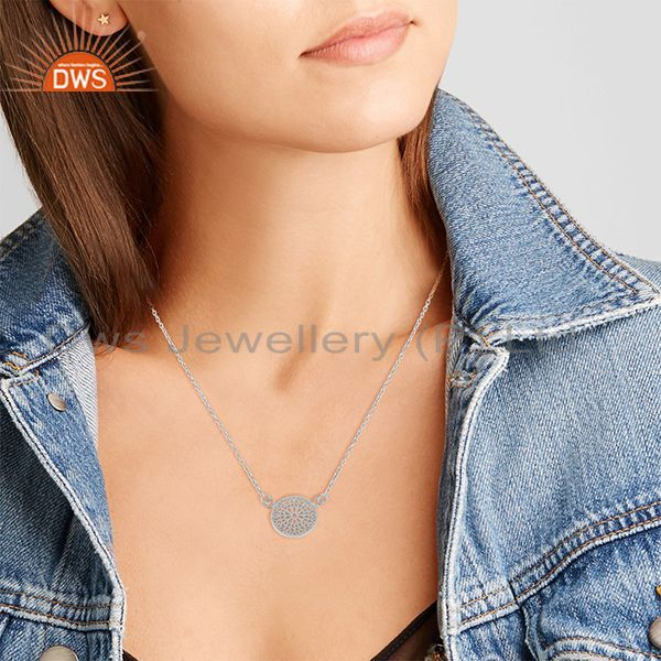 Suppliers White Rhodium Plated Plain Sterling Silver Charm Chain Pendant Jewelry