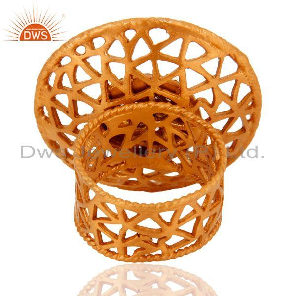 Suppliers Indian 925 Sterling Silver 22K Gold Plated Filigree Design Zircon Cocktail Ring