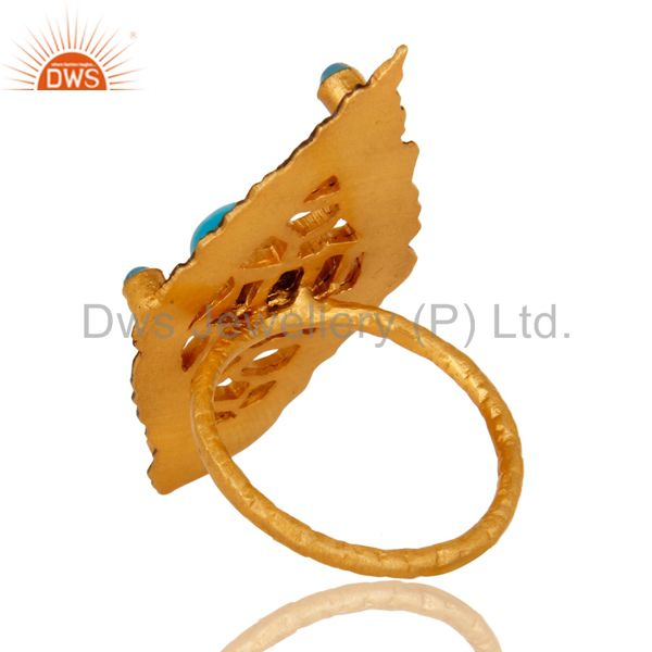Suppliers 18K Yellow Gold Plated Turquoise Gemstone Designer Statement Ring