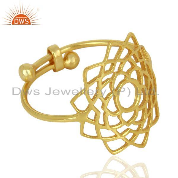 Best Selling Crown Chakra Spiritual 14K Gold Plated 92.5 Sterling Silver Wholesale Ring