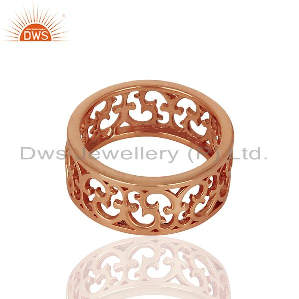 Suppliers Effortlessly Elegant Motif Style Sterling Silver Rose Gold Plated Plain Ring