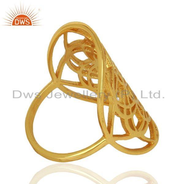 Suppliers Flower Of Life Sterling Silver 14K Gold Plated Wholesale Ring