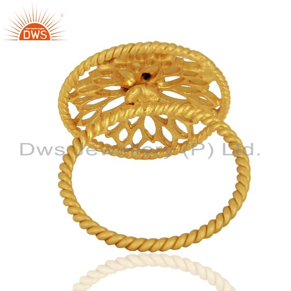Suppliers Designer Gold Plated 925 Silver Lapis Gemstone Girls Ring Manufacturer