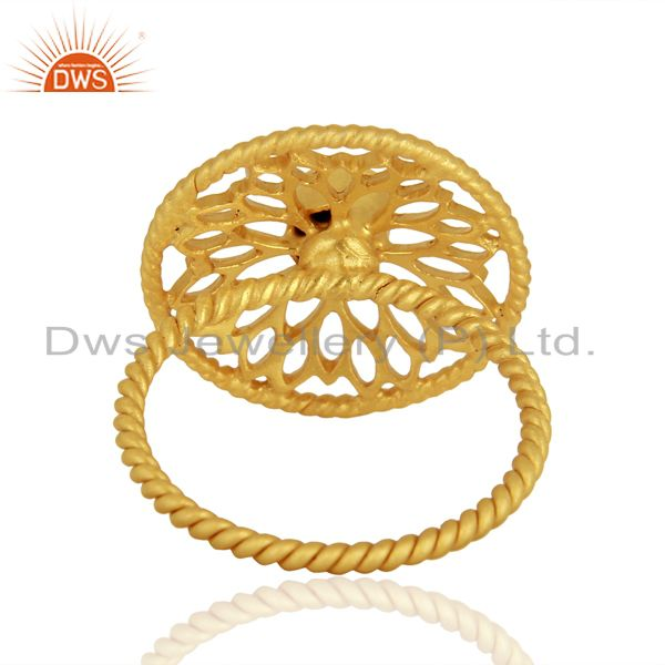 Suppliers Gold Plated Malachite Gemstone 925 Silver Ring Jewelry Supplier