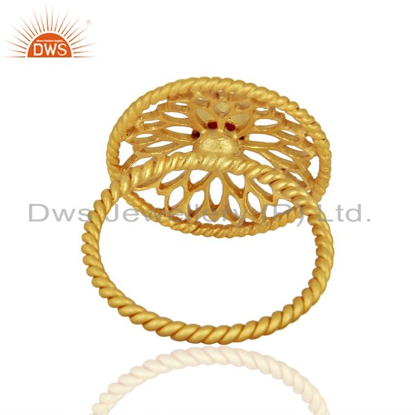 Suppliers Red Aventurine Gemstone Gold Plated Silver Rings Jewelry Manufacturer