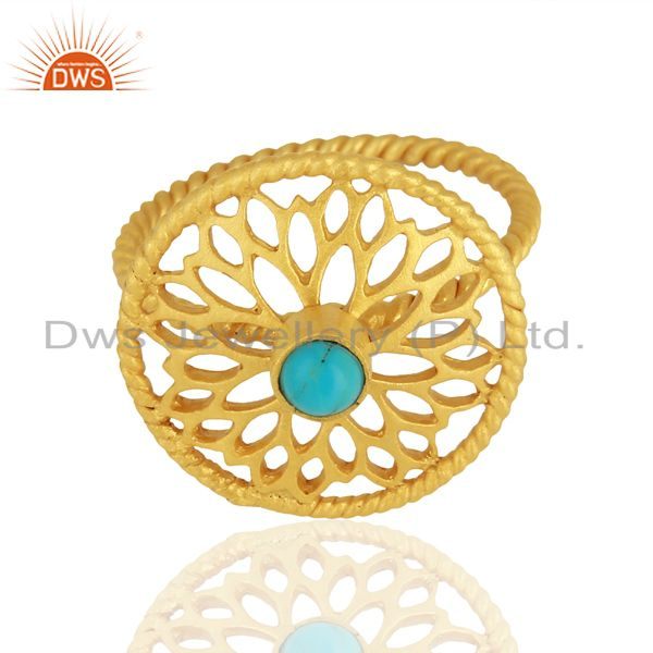 Suppliers Natural Turquoise Gemstone Designer Gold Plated Silver Rings Wholesale