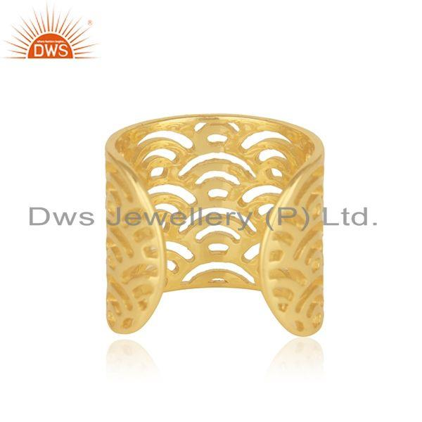 Suppliers Filigree Design Gold Plated Solid 925 Sterling Silver Ring Wholesaler