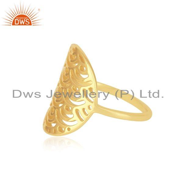 Suppliers Yellow Gold Plated Sterling Silver Designer Ring For Womens Jewelry