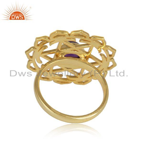 Designer of 18k gold plated designer silver chakra amethyst gemstone rings