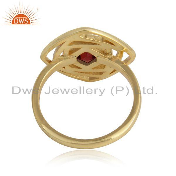 Designer of 18k gold plated 925 silver girls garnet gemstone rings jewelry